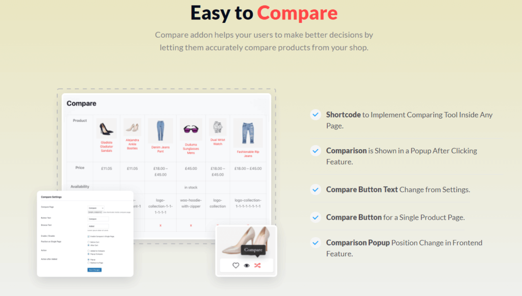 ProductX Compare Addon