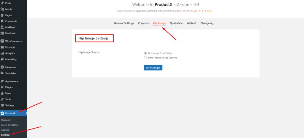 ProductX Flip Image Settings